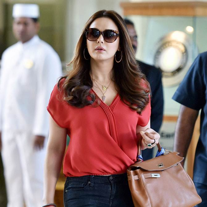 Preity Zinta, co-owner of Kings XI Punjab, arrives for the auction.