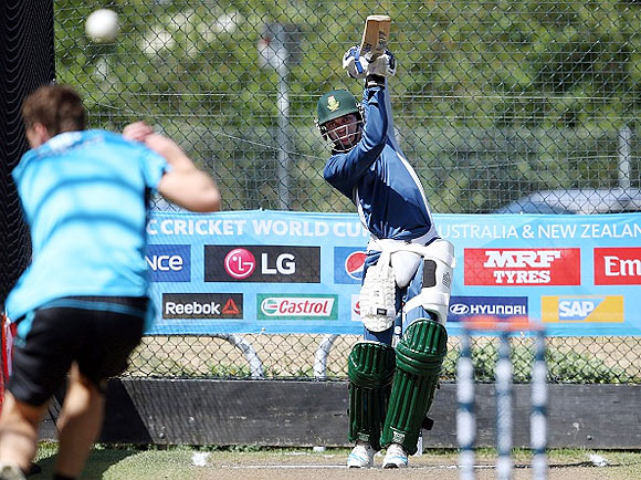 South Africa's Aaron Phangiso bats in the nets