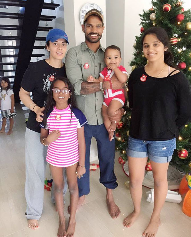 Family photo of the cricket player, married to Ayesha Mukherjee, famous for India National Cricket Team & Sunrisers Hyderabad.