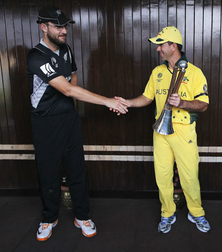 In this file photo, Ricky Ponting of Australia is congratulated by Daniel Vettori of New Zealand on winning the Chappell-Hadlee Trophy during the ICC World Cup Group A match between Australia and New Zealand at Vidarbha Cricket Association Ground in Nagpur on February 25, 2011