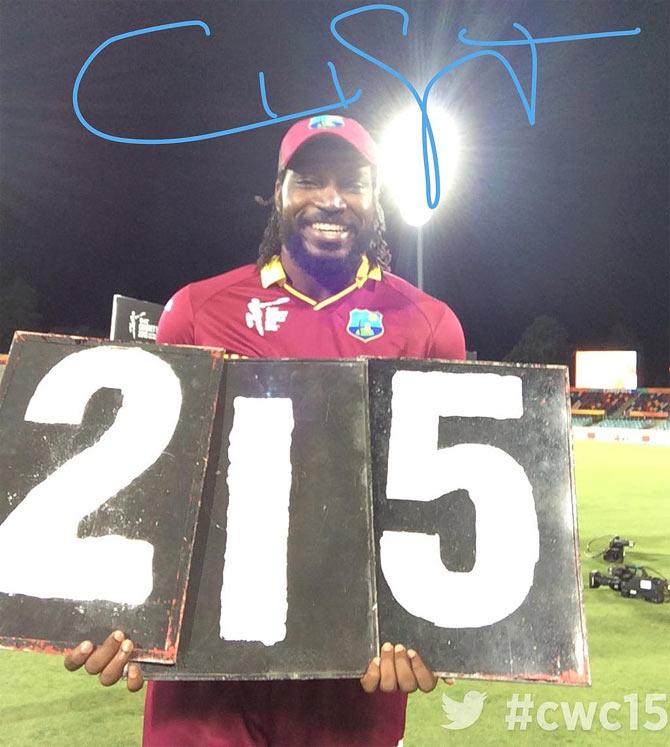 Rediff Cricket - Indian cricket - PHOTOS: Gayle double ton helps Windies overpower Zimbabwe