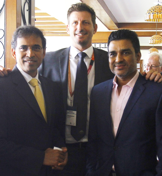 Harsha Bhogle, left, with fellow commentators Michael Kasprowicz and Sanjay Manjrekar