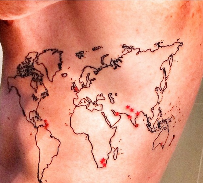 Kevin pietersen unveils his world map tattoo sportzwiki here is a picture that he posted on his instagram site gumiabroncs Images