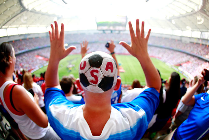 A fan of the United States is seen at the BC Place Stadium during the FIFA Women's World Cup final
