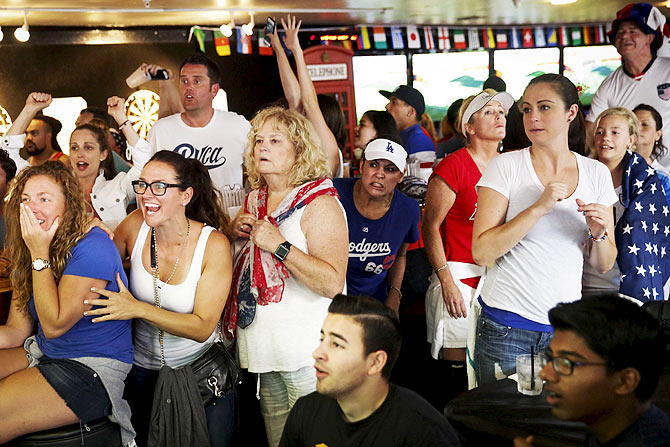 US fans react as they watch the Women's World Cup final at the Underground Pub and Grill in Hermosa Beach, California