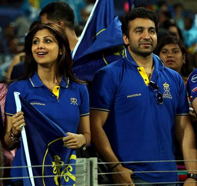 Rajasthan Royals co-owners Shipla Shetty and Raj Kundra