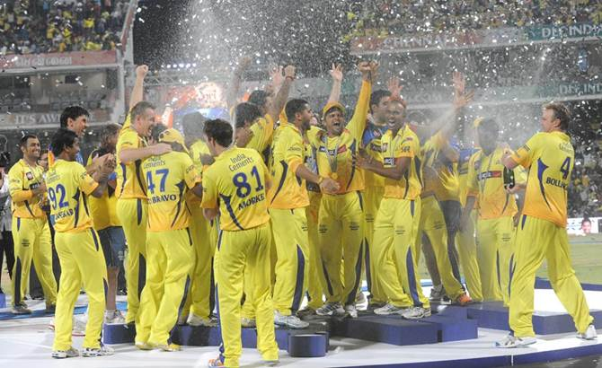 Chennai Super Kings players celebrate after winning the IPL in 2011