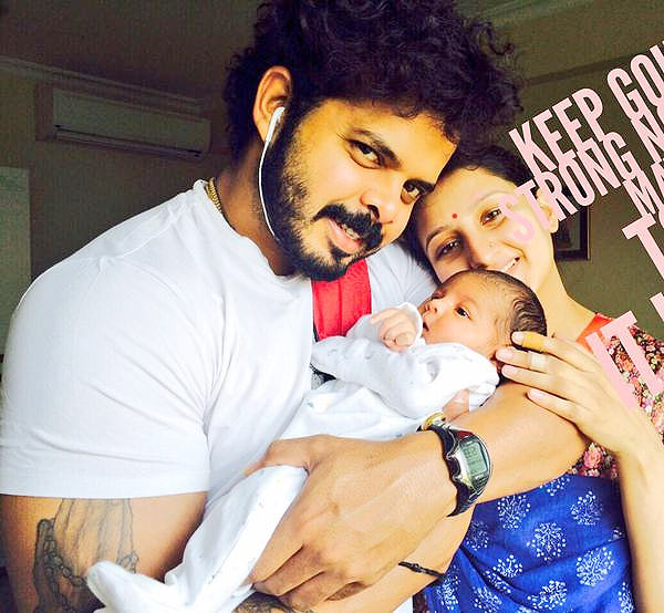 Inda cricketer Sreesanth with his new born baby and wife