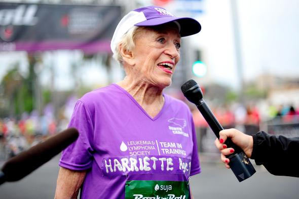 Harriete Thomson gives interviews after completing the Rock 'n' Roll Marathon