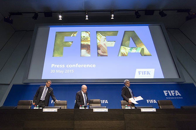 Jerome Valcke, FIFA general secretary, Joseph S. Blatter, FIFA President and Walter de Gregorio, head of media, from left