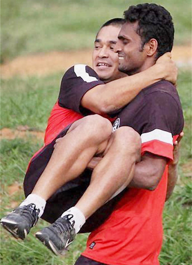 India's Sunil Chhetri and a teammate during the team-building exercises organised by the Indian Army at the ASC Camus, Bengaluru on Saturday