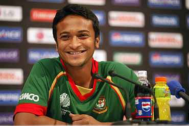 Rediff Sports - Cricket, Indian hockey, Tennis, Football, Chess, Golf - Bangladesh's Shakib Al Hasan completes grand all-round double