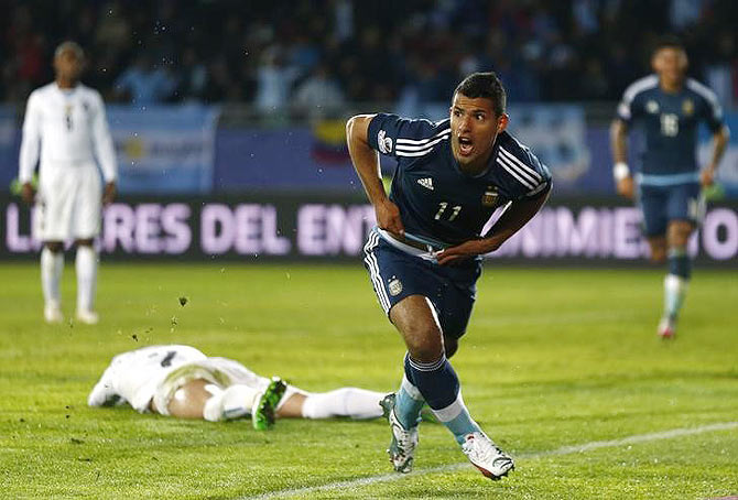 Argentina's Sergio Aguero celebrates scoring against Uruguay