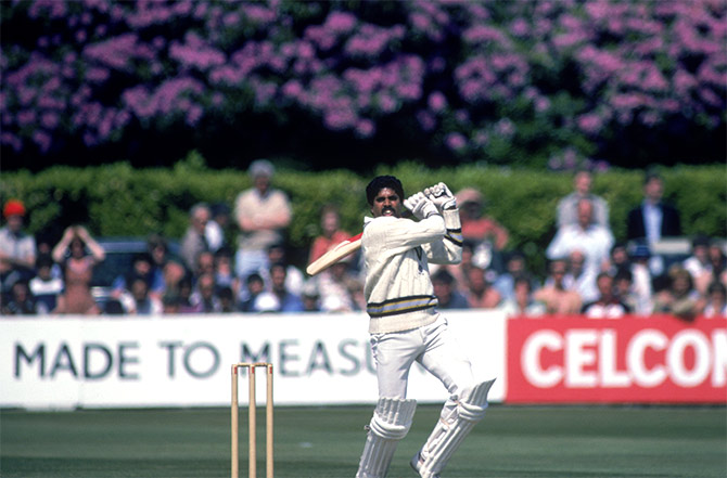 Kapil Dev during his record innings of 175 not out off 138 balls against Zimbabwe, at Tunbridge Wells