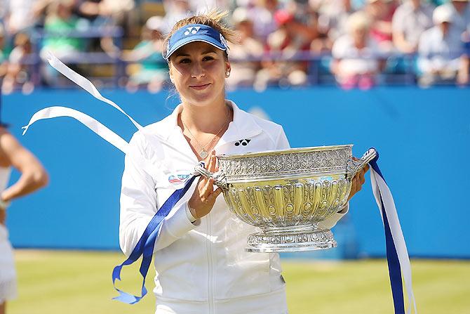 Rediff Sports - Cricket, Indian hockey, Tennis, Football, Chess, Golf - Bencic stuns Radwanska in Eastbourne to claim maiden title