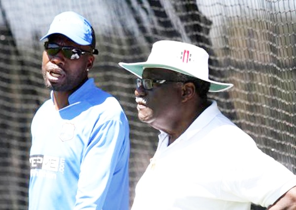 Clive Lloyd, the first captain to win two World Cup titles, with the fearsome fast bowler Curtly Ambrose in Perth, before the India-West Indies World Cup game in March last year. Photograph: Vipin Pawar/Solaris Images