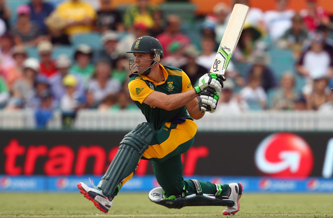 Rediff Sports - Cricket, Indian hockey, Tennis, Football, Chess, Golf - De Villiers overtakes Gayle in World Cup MVP standings