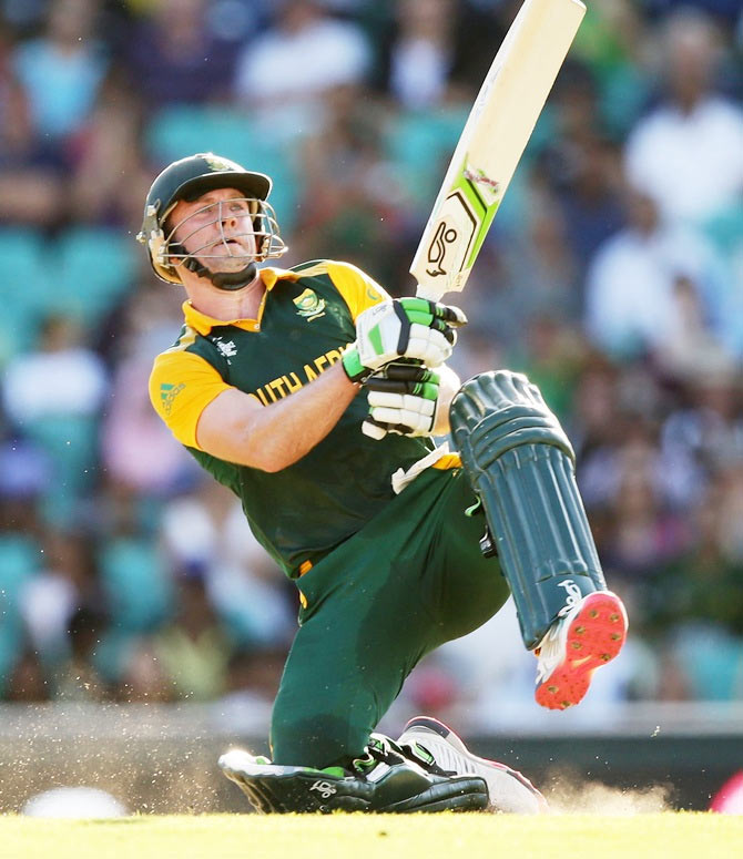 South Africa's AB de Villiers bats during the 2015 World Cup match against the West Indies at the Sydney Cricket Ground