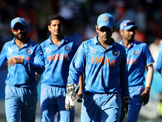 Indian players walk off  the Eden Park stadium