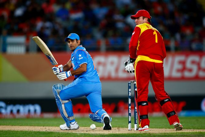 M S Dhoni in action. Photograph: Phil Waters/Getty Images