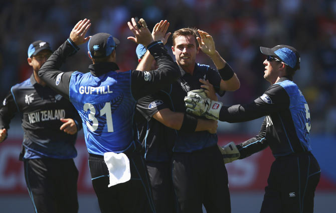 New Zealand players celebrate after taking a wicket