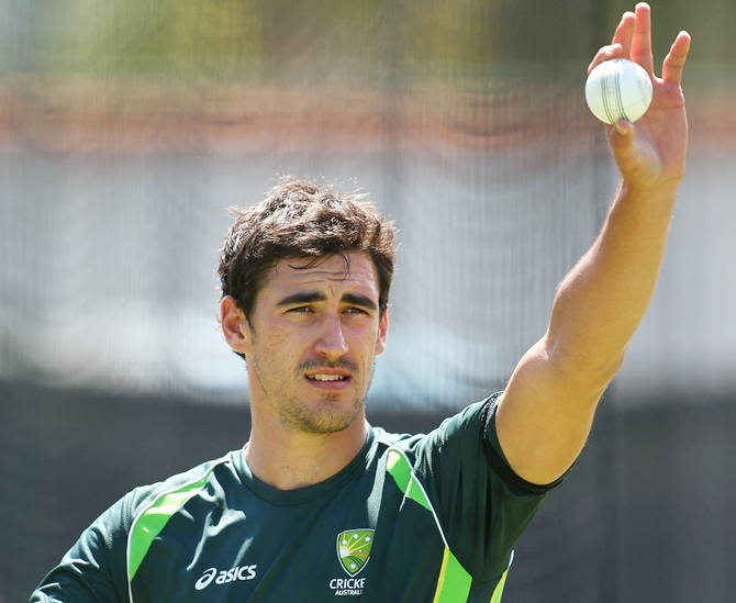 Mitchell Starc looks on during the Australian nets session