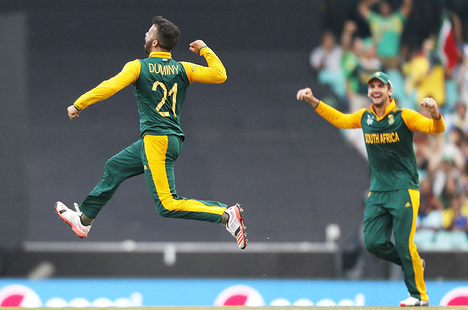 5218db8c618 Duminy claims SA s first World Cup hat-trick - Rediff.com Cricket