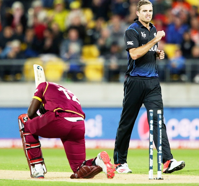 Tim Southee of New Zealand looks on after dismissing Andre Russell of the West Indies