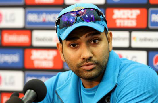 Indian player Rohit Sharma speaks during a press conference at the Sydney Cricket Ground on Wednesday