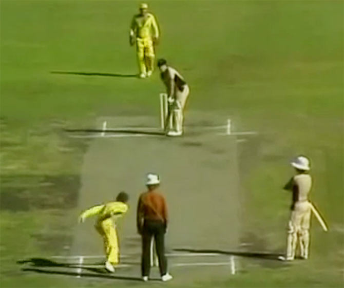A video grab of Trevor Chappell bowling underarm