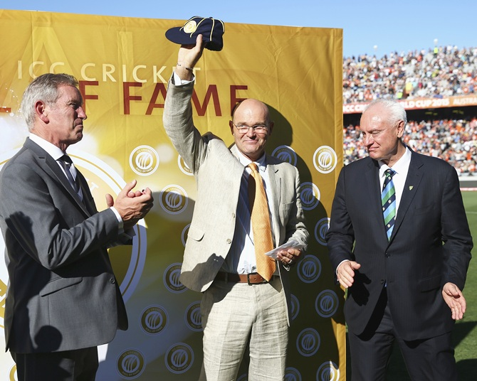 Martin Crowe, former New Zealand captain and player of the ICC Cricket World Cup 1992, is inducted into the ICC Cricket Hall of Fame