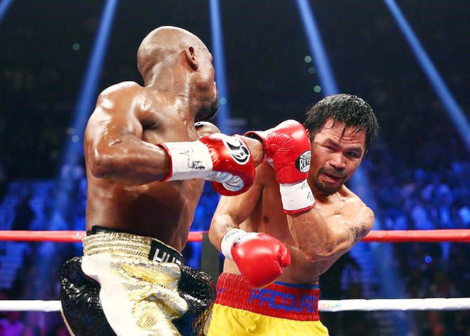 Rediff Sports - Cricket, Indian hockey, Tennis, Football, Chess, Golf - Mayweather beats Pacquiao via unanimous decision