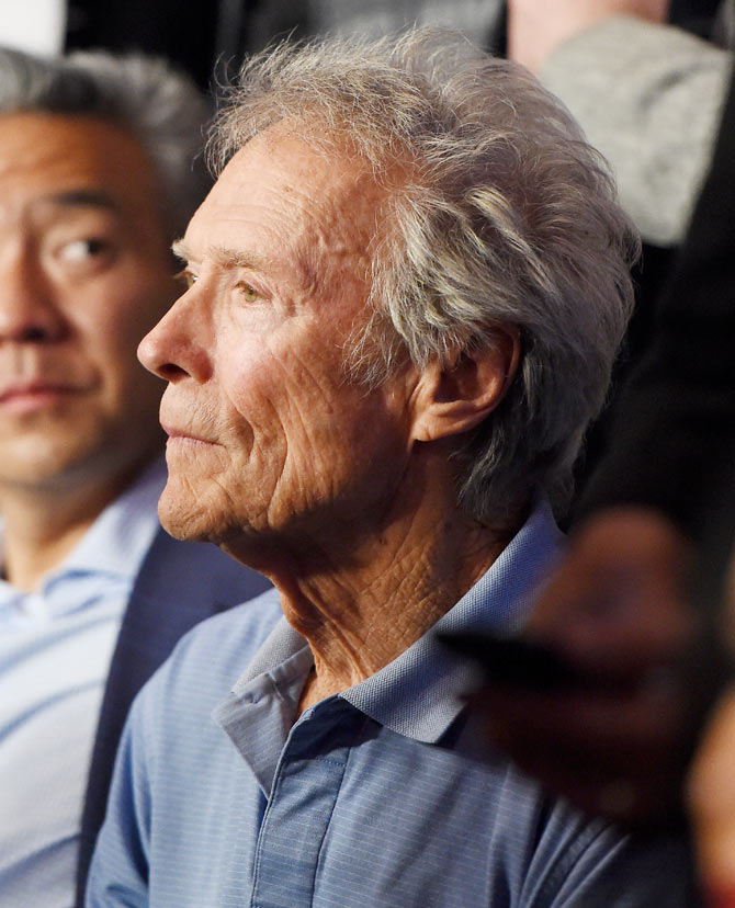 Actor Clint Eastwood poses ringside At 'Mayweather VS Pacquiao' presented by SHOWTIME PPV And HBO PPV