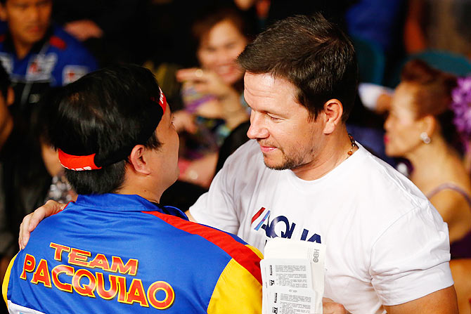 Actor Mark Wahlberg attends the welterweight unification championship bout
