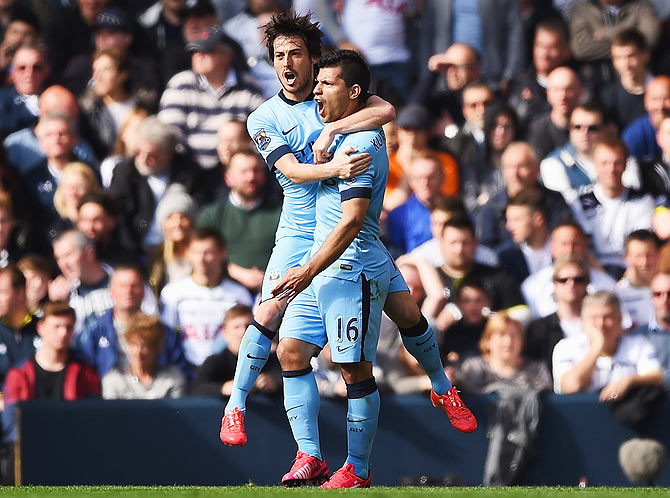 Rediff Sports - Cricket, Indian hockey, Tennis, Football, Chess, Golf - EPL: Aguero, in hunt for Golden Boot, scores blinder against Spurs