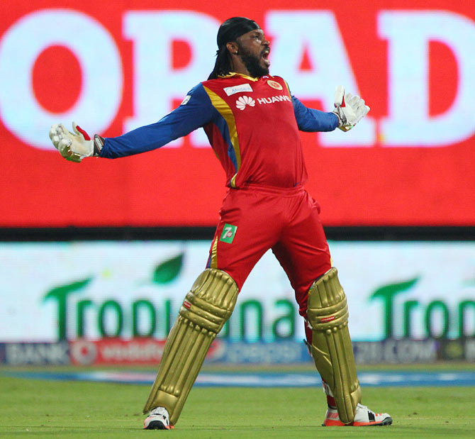 Rediff Sports - Cricket, Indian hockey, Tennis, Football, Chess, Golf - Gayle storm blows away Punjab, RCB rise to third