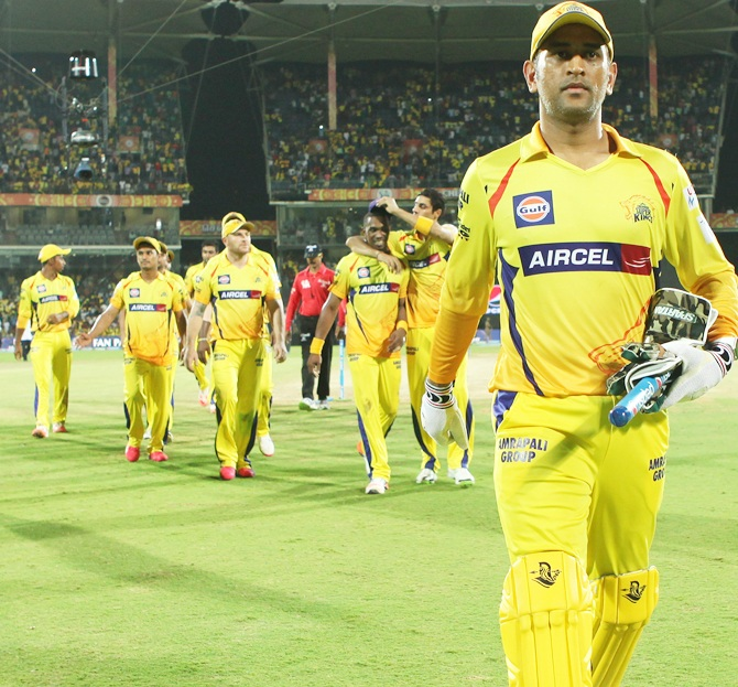 Mahendra Singh Dhoni in CSK colours