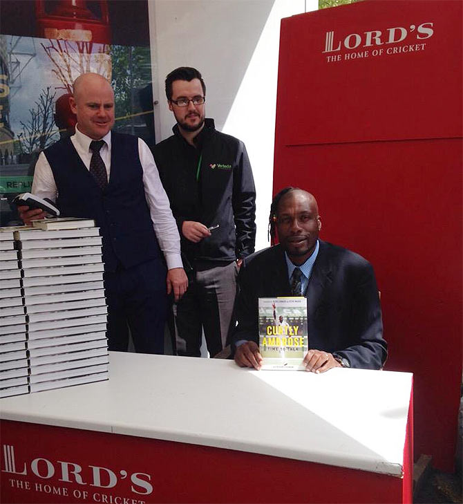 West Indies bowling great Curtly Ambrose at the launch of his autobiography at the Lord's cricket ground on Thursday.