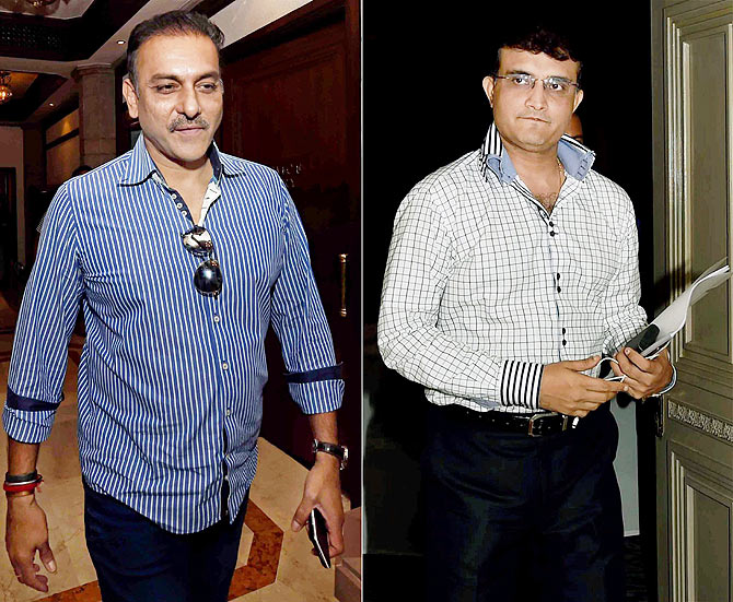Former cricketers and IPL Governing Council members Ravi Shastri and Sourav Ganguly come out after attending BCCI IPL Governing Council meeting in Kolkata on Monday