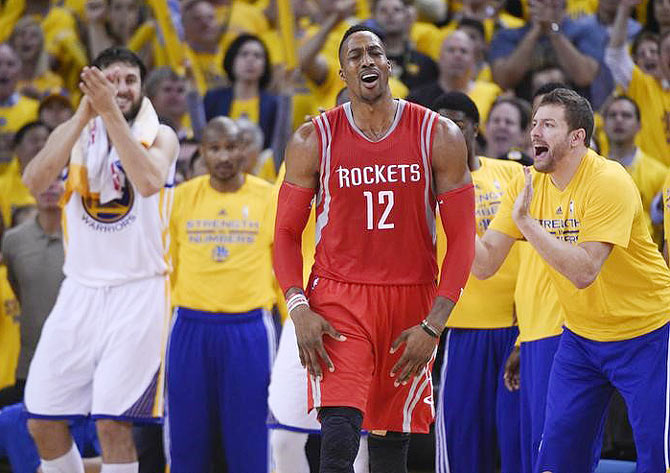 Houston Rockets center Dwight Howard (12) reacts during the game against the Golden State Warriors in game five of the Western Conference Finals of the NBA Playoffs. at Oracle Arena, in Oakland, California on Wednesday