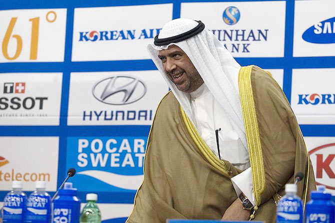 Olympic Council of Asia (OCA) President Sheikh Ahmad Al-Fahad Al-Sabah arrives at a news conference