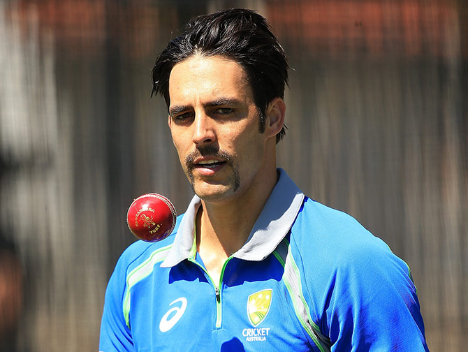 Mitchell Johnson looks on during an Australian nets session at WACA
