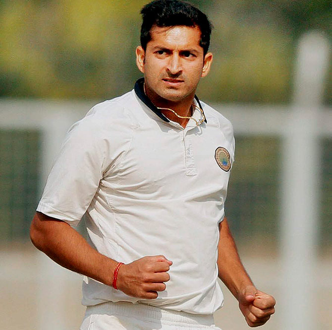 Haryana's Mohit Sharma during Ranji Trophy match against Rajasthan at Lahli