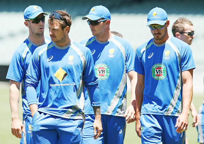 Rediff Cricket - Indian cricket - Aus stick to tradition for historic Test, will go in with 3 quicks