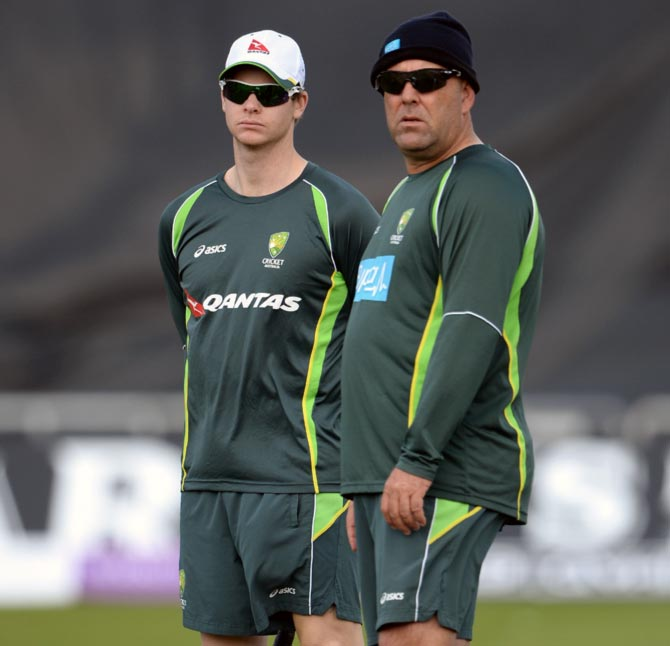 Australia captain Steven Smith (left) and coach Darren Lehmann