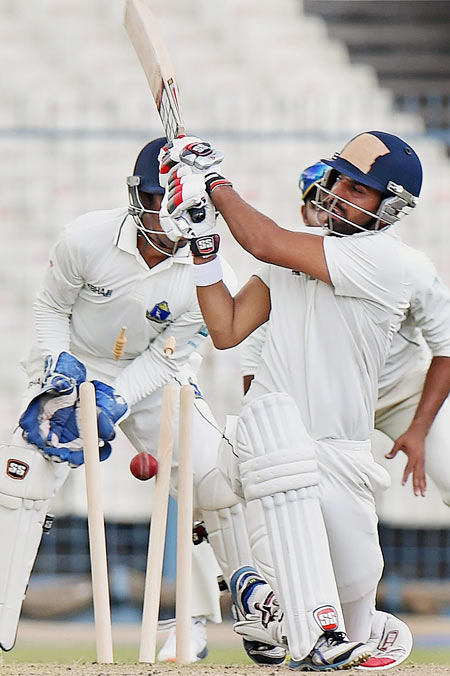 Rajasthan captain Ashok Menaria is bowled out during Ranji Trophy match against Bengal at Eden Garden in Kolkata on Thursday.