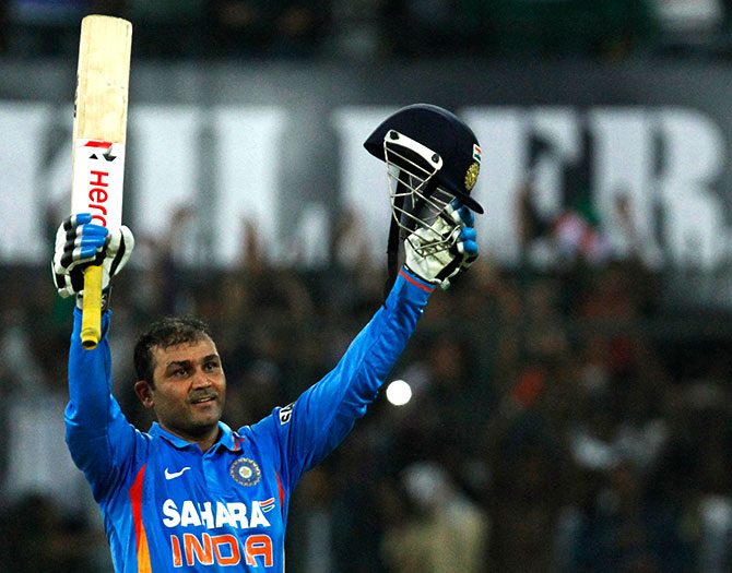 India's captain Virender Sehwag celebrates after scoring 200