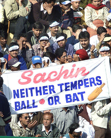 Fans hold a banner during a match in support of Sachin Tendulkar during the ball-tampering controversy in 2001