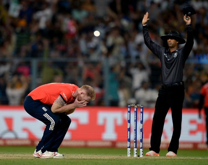 Ben Stokes, distraught, during that final over. Photograph: Gareth Copley/Getty Images