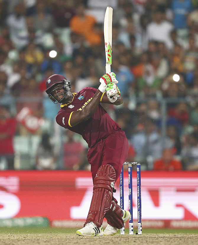 Carlos Brathwaite of the West Indies bats